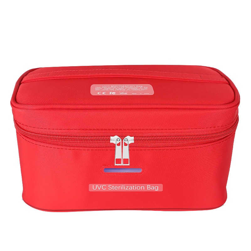 Uvc Ultraviolet Disinfection Bag Portable Sterilization Storage Bag for Home Travel red
