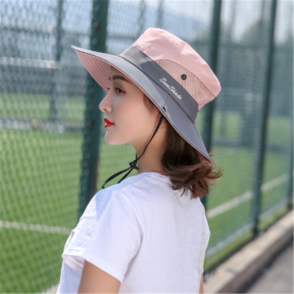 Women Breathable  Wide Brim Sun Hat   Breathable Mesh  Sunscrenn Hat Folding Mountaineering Hat light pink