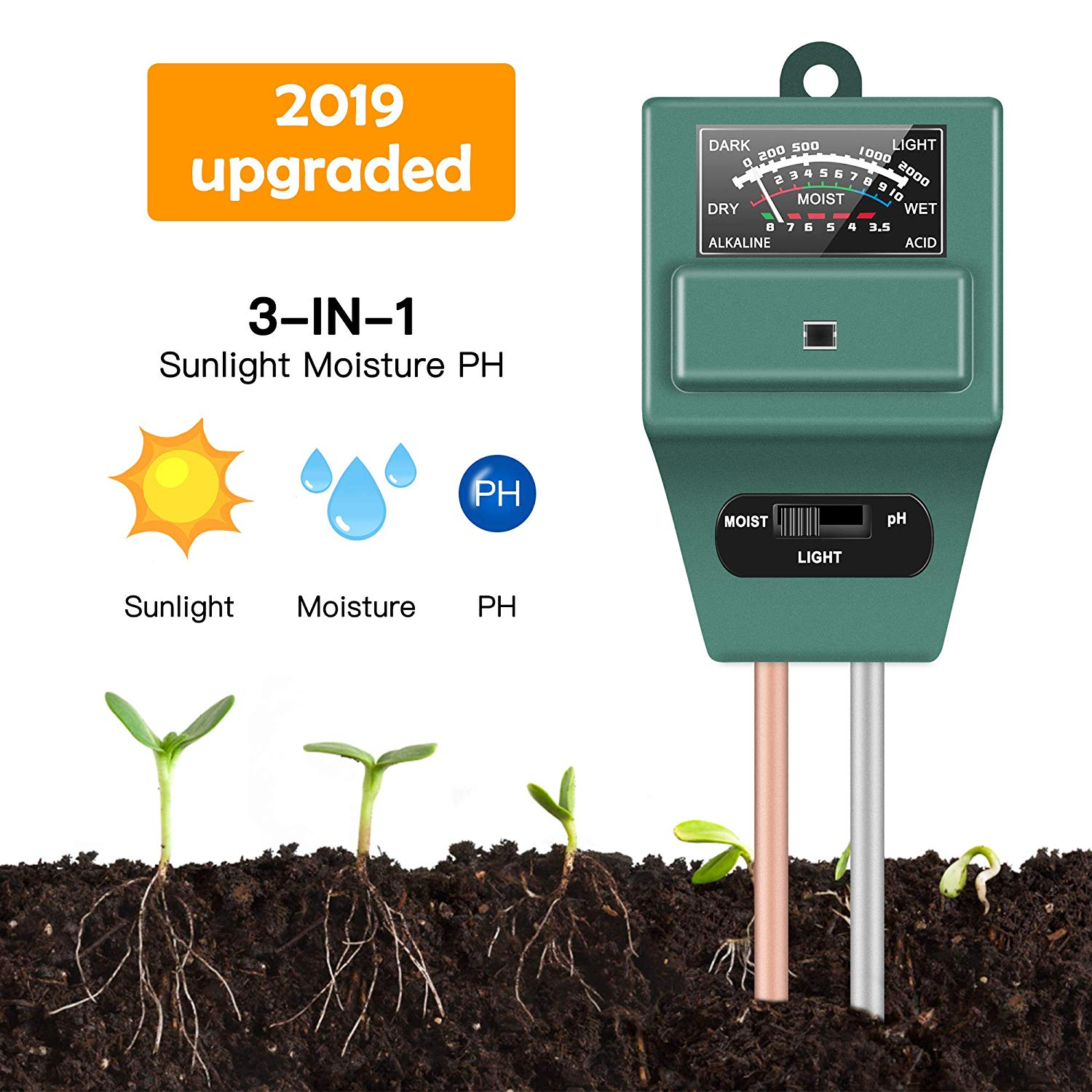 Soil Tester Meter 3-in-1 Test Kit for Moisture Light pH for Home and Garden Lawn Farm Plants Herbs Gardening Tools