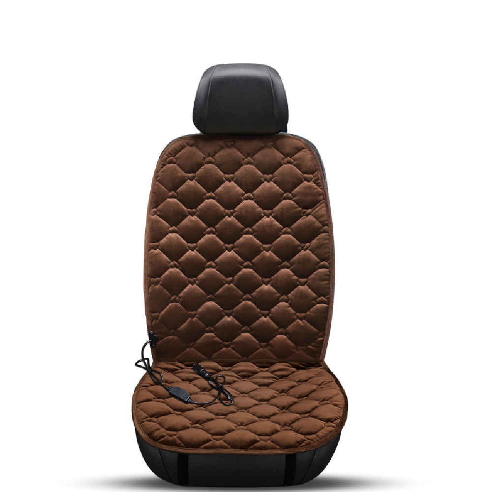 12V Heating Car Seat Cover Front Seat Cushion Plush Heater Winter Warmer Control Electric Heating Protector Pad Love Coffee-Single Seat