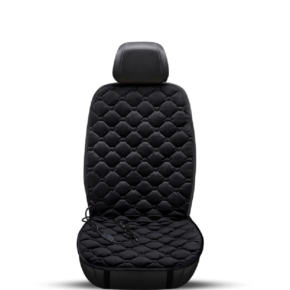 12V Heating Car Seat Cover Front Seat Cushion Plush Heater Winter Warmer Control Electric Heating Protector Pad Love black-single seat