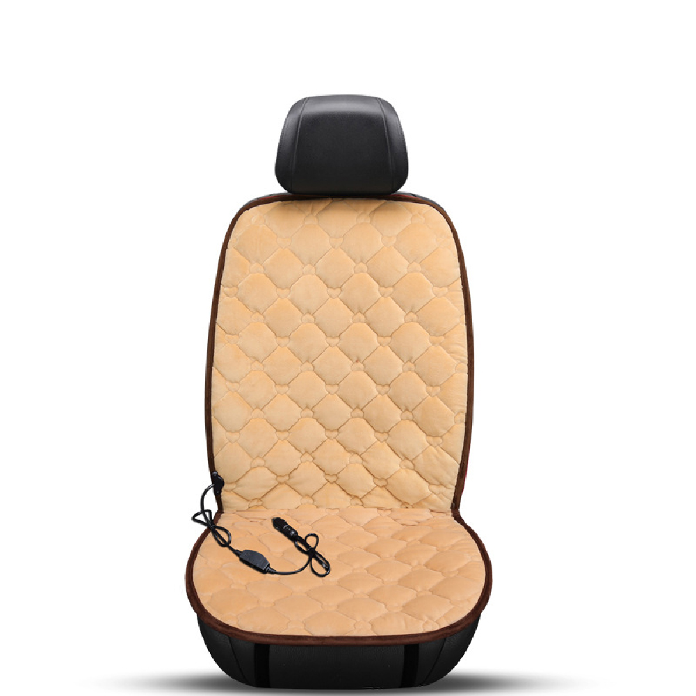 12V Heating Car Seat Cover Front Seat Cushion Plush Heater Winter Warmer Control Electric Heating Protector Pad Love beige-single seat