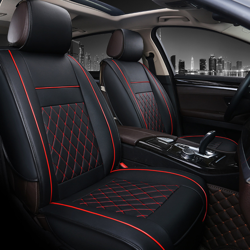 Universal All Car Leather Support Pad Car Seat Covers Cushion Accessories Black and red standard version single
