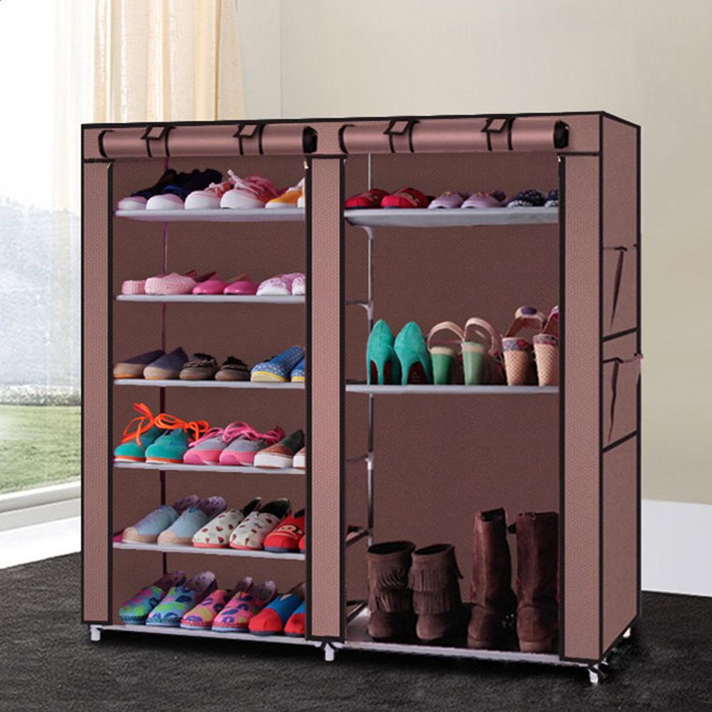 [US Direct] Original Zimtown 9 Lattices Shoes Rack Double Rows Combination Style Shoe Cabinet (Coffee)