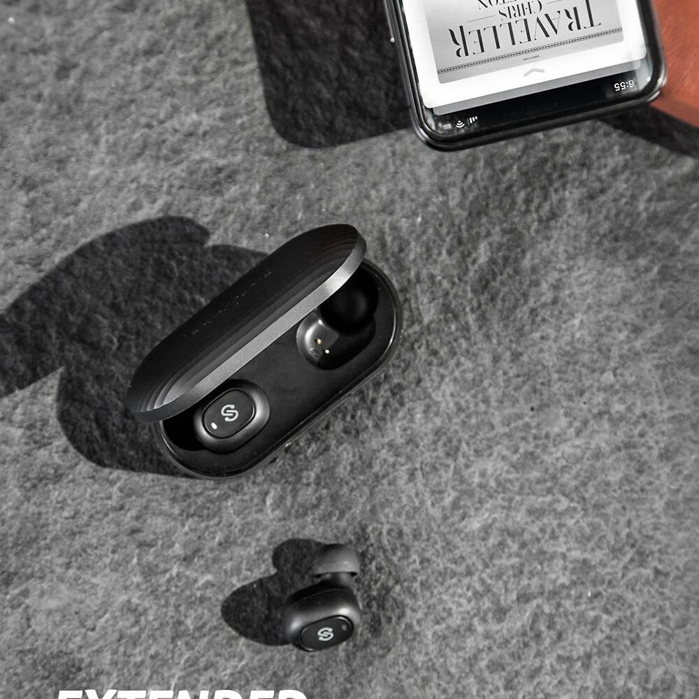 [US Direct] Original SOUNDPEATS True Wireless Earbuds Headphones in-Ear Stereo Wireless Earphones with Microphone Binaural Calls, One-Step Pairing, Total 35 Hours Black
