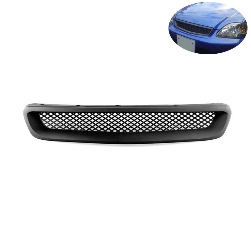 For 1999-2000 Honda Civic JDM Type R Black Mesh ABS Front Hood Grille Grill black