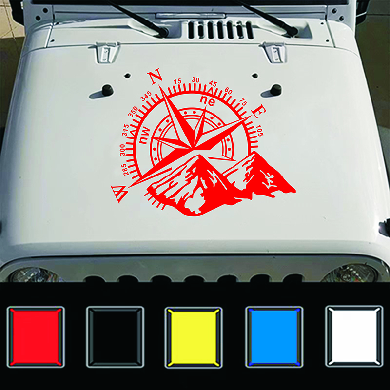 Fashion Car Compass Rose Navigate Offroad Vinyl Sticker Decal Car Auto Decoration red