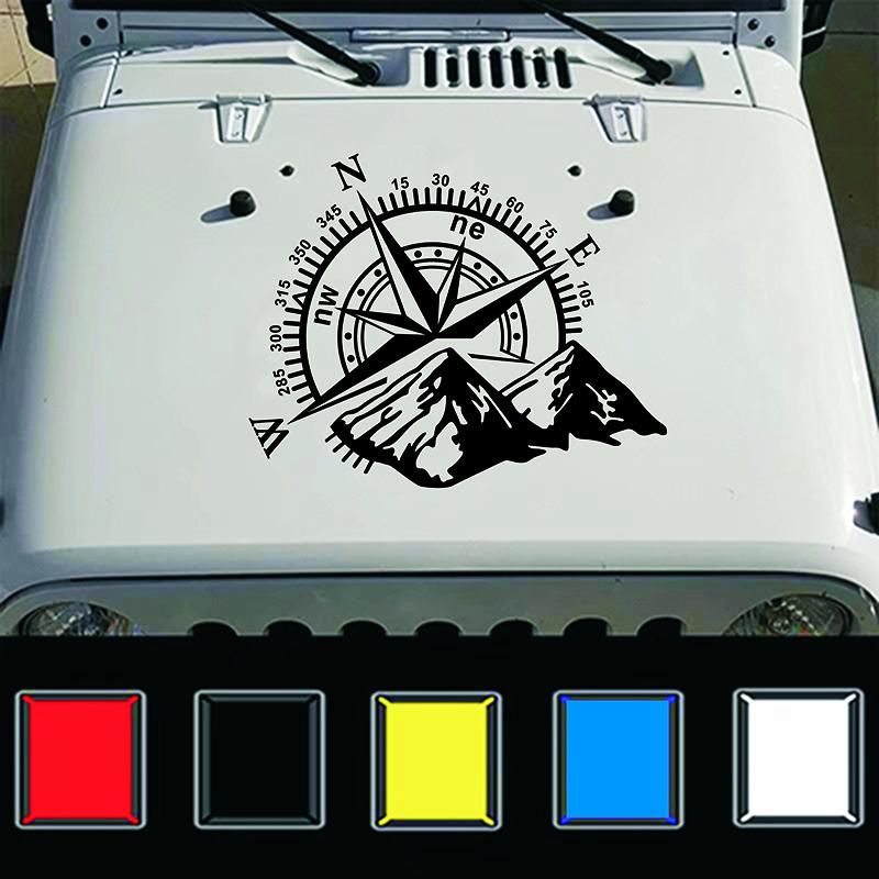 Fashion Car Compass Rose Navigate Offroad Vinyl Sticker Decal Car Auto Decoration black