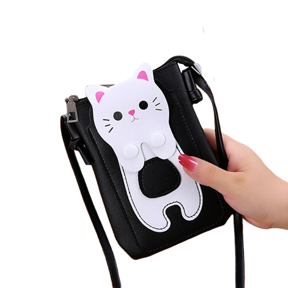 Women Mini Satchel Cartoon Cat Single Strap Cross-body PU Leather Vertical Cellphone Bag black