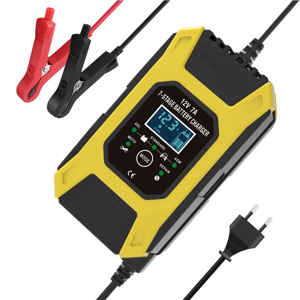 12v 7a 7-stage Battery Charger Wet Gel Std Agm Car Motorcycle Battery Charger Pulse Charge Maintainer Desulfator Yellow_EU Plug