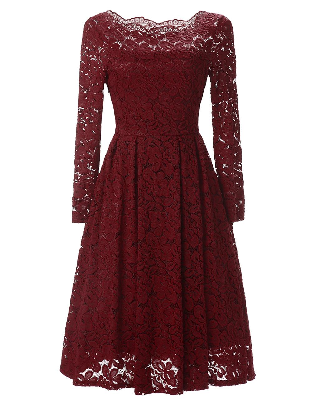 Women's Long Sleeve Sexy Straight Collar Dress Elegant Lace V Neck Casual Dress