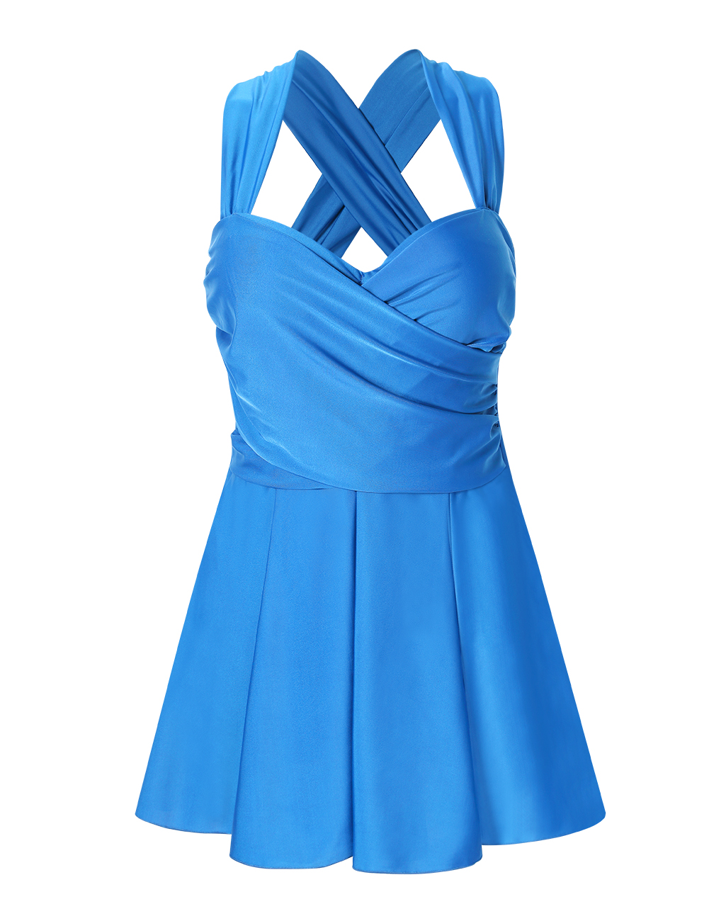 Women's Cross Back Shaping Body One-Piece Swim Dress Swimsuit Blue_XL