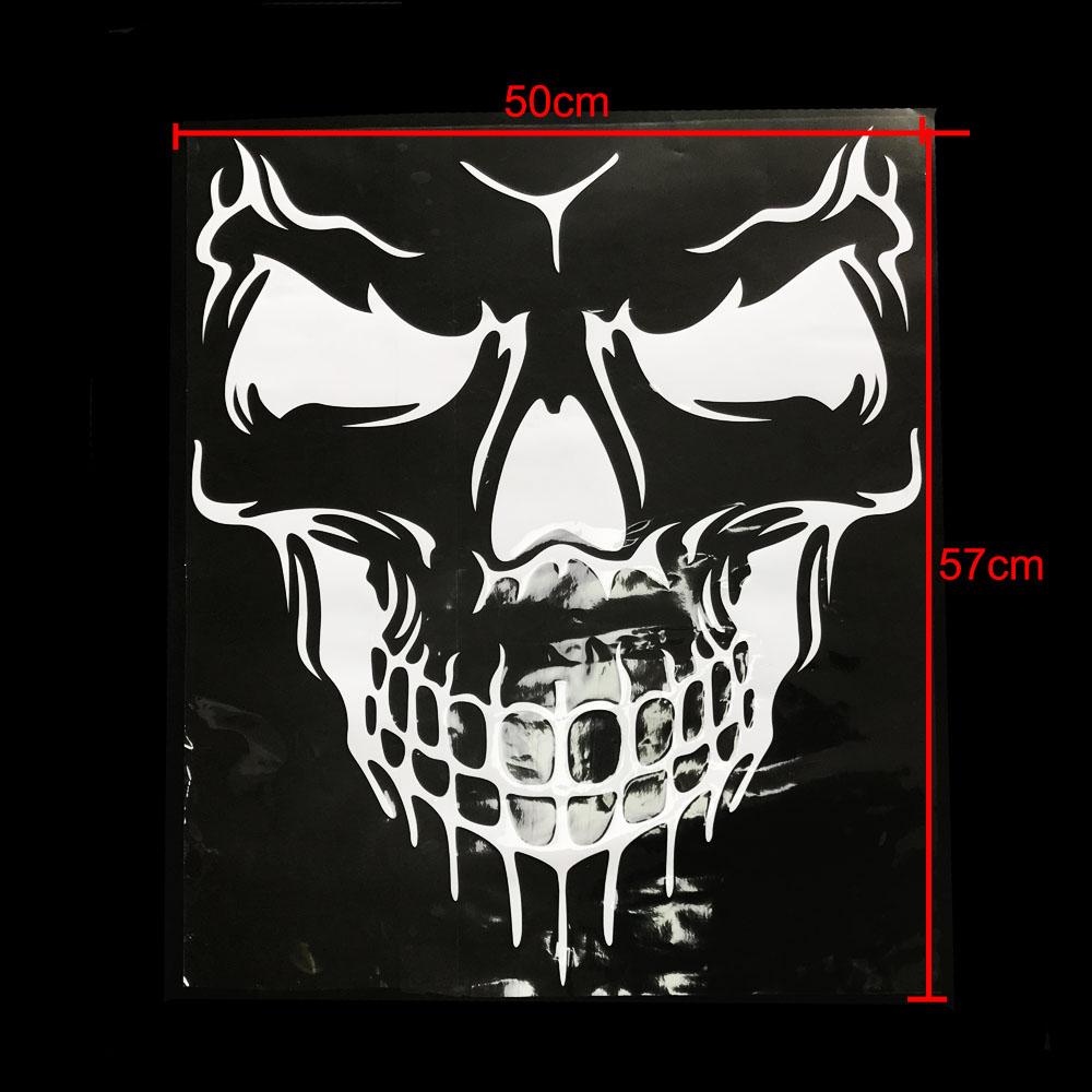 Unique Skull Design PVC Decals Car Cover Stickers Car Body Styling Sticker white