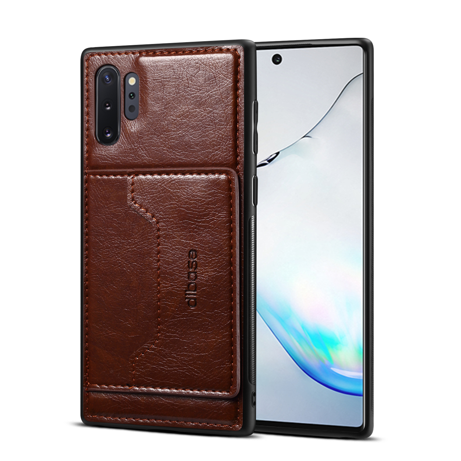 For Samsung Note 10/10 Pro Cellphone Cover 2-in-1 Stand Function Textured PU Leather Anti-scratch Overall Protection Case Card Holder coffee