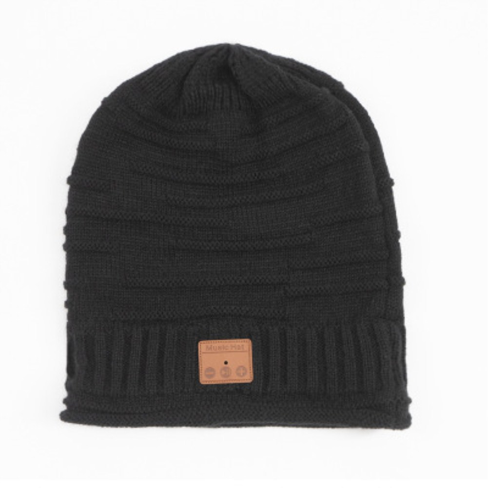 V5.0 Wireless Bluetooth Call Stereo Knitted Hat Beanies  black