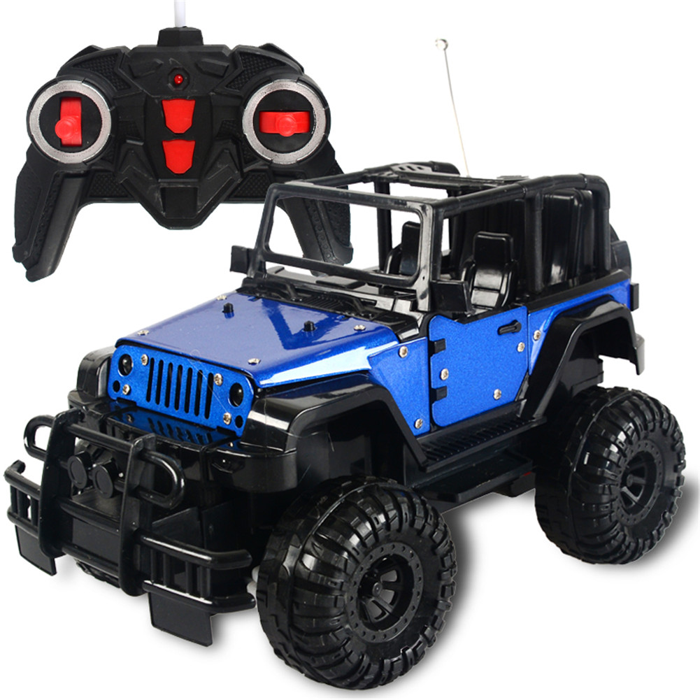 1:18 2WD 4CH Electric Wireless Alloy Remote Control Charging Opening Door Car with LED Light Kids Toy blue