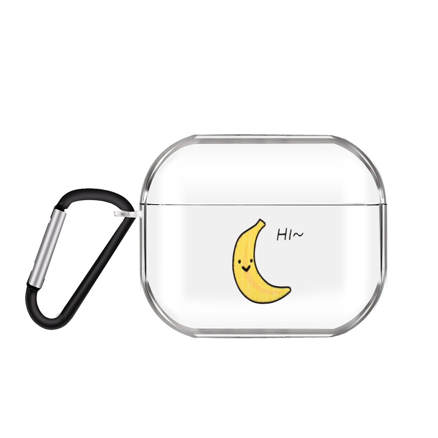 For AirPods Pro Headphones Case Full Protection Clear Cute Earphone Shell with Metal Hook 2 bananas