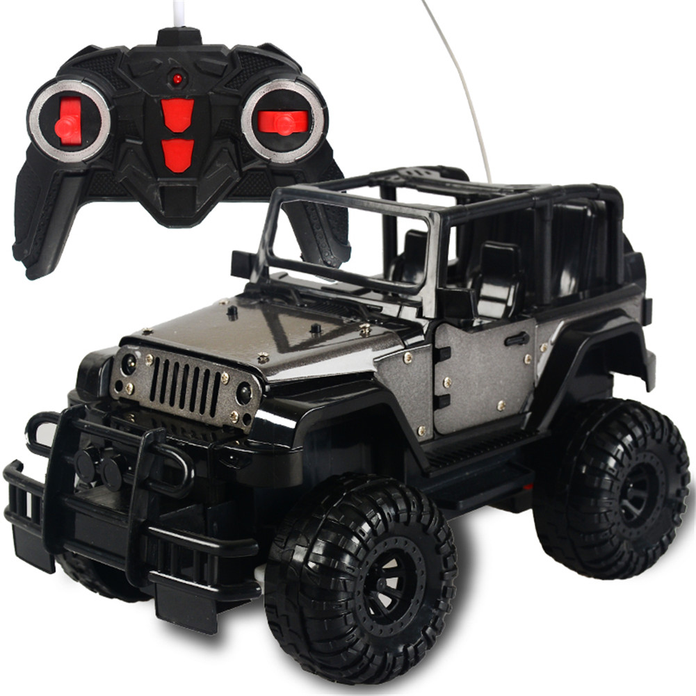 1:18 2WD 4CH Electric Wireless Alloy Remote Control Charging Opening Door Car with LED Light Kids Toy gray