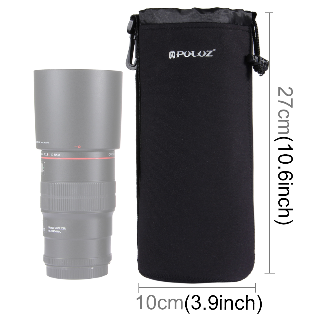 Universal Nylon Lens Protective Carrying Bag with Hook for Canon Nikon Sony Lens black