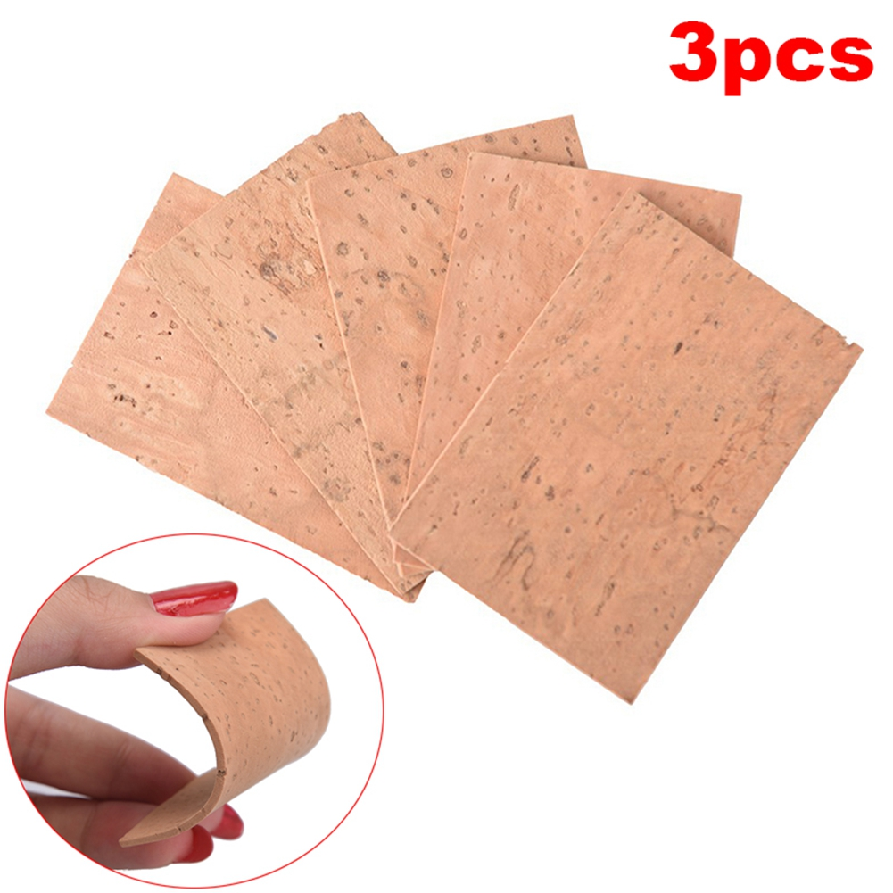 3PCS 60*40*2mm Natural Saxophone Cork Sheet Neck Joint Board Suitable for Alto/Soprano/Tenor Sax Wood color