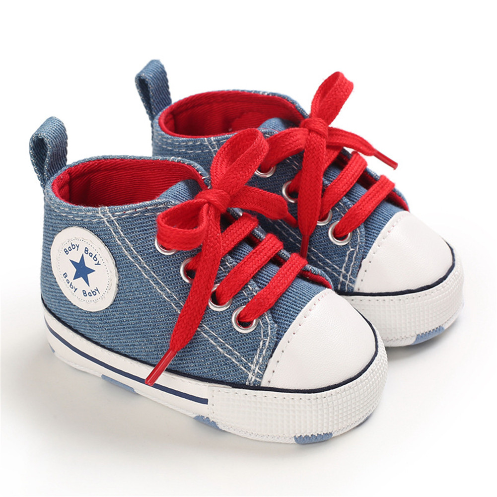 Baby Shoes Soft-soled Canvas Multicolor Toddler Shoes for 0-18m Babies Light blue denim_13CM bottom length