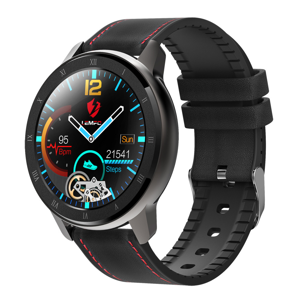 LEMFO ELF2 PPG + ECG Smart Watch 1.3 Inch Full Round Touch Screen Heart Rate Blood Pressure Monitor black