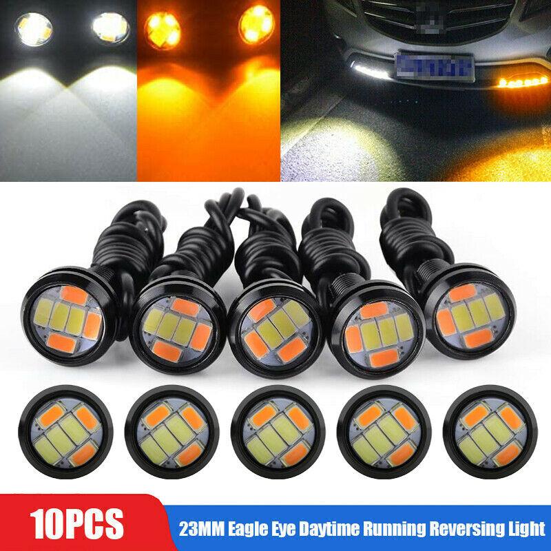 10pcs Car Led Eagle Eye Light 23mm 4014 6smd Super Bright Lens High Power Daytime Running Light Yellow and white