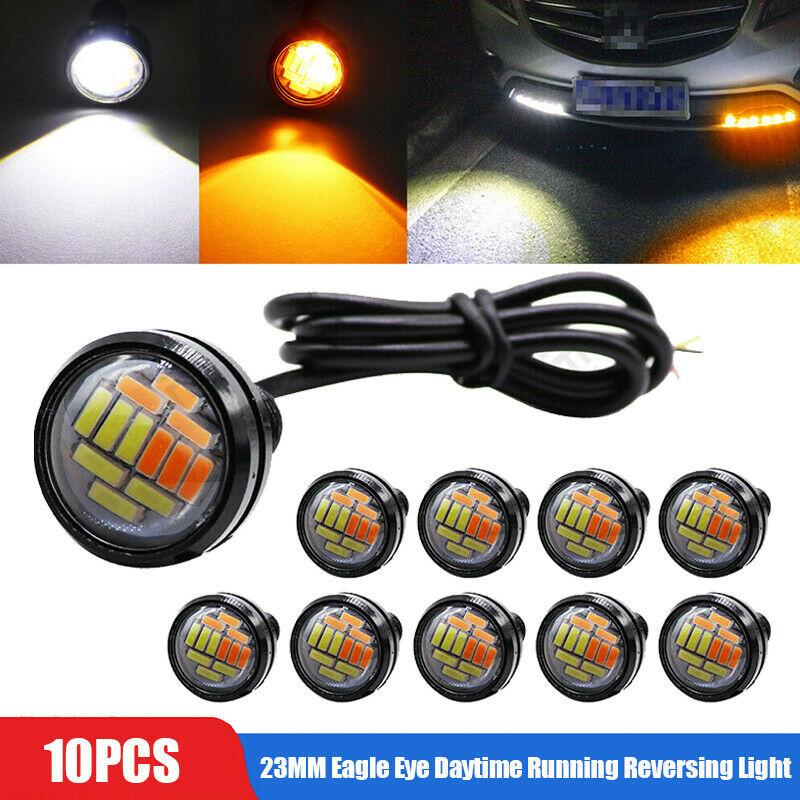 10pcs 23mm Eagle Eye LED DRL Daytime Running Reversing Light Car Tail Lamp Dc12v White and yellow light