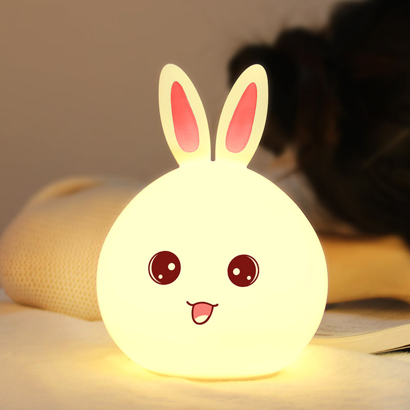 Silicone LED Night Light, Cute Bunny Rabbit Baby Nursery Lamp, Tap Control 7-Color Breathing Light for Children, USB Rechargeable Pink