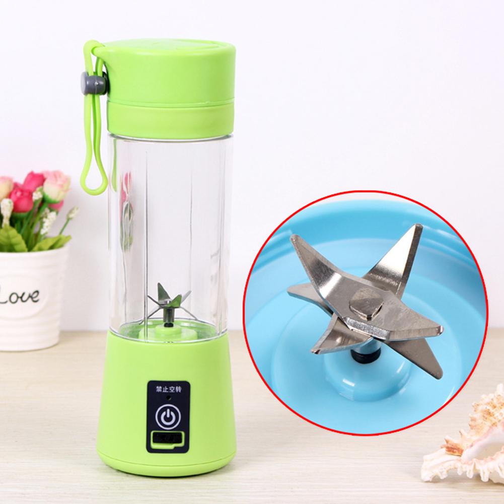 Portable 6 Blades USB Charging Eletric Fruit Juicer Blender green_380ML