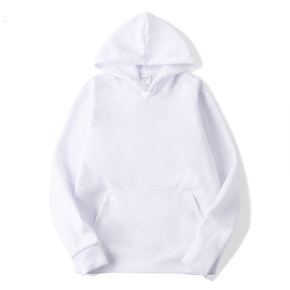 Men's Hoodie Autumn and Winter Loose Long-sleeve Velvet Solid Color Pullover Hooded Sweater white_L