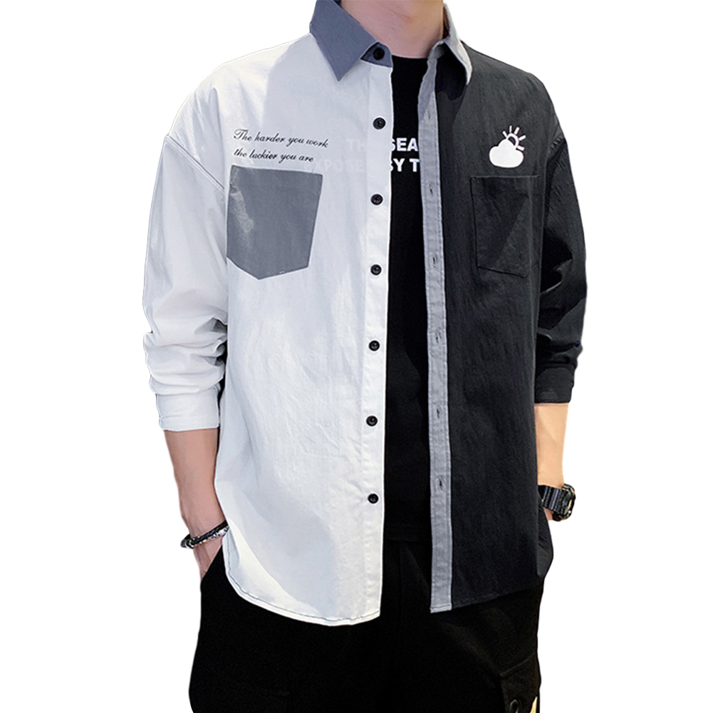 Men Shirt Long Sleeve Autumn Teenagers Loose Color Matching Blouse White black_L