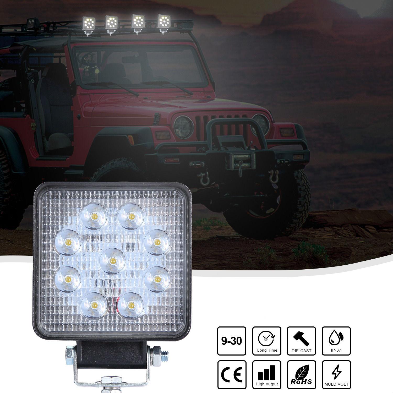 Super Slim Square 90W Spotlight Beam Led Work Light Driving Fog Lights