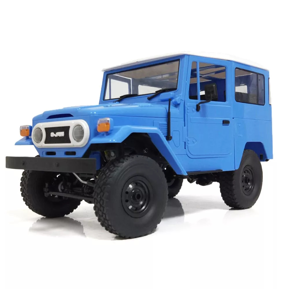WPL C34 1/16 RTR 4WD 2.4G Buggy Crawler Off Road RC Car 2CH Vehicle Models With Head Light Plastic Double Battery blue_Double power