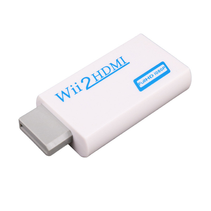 For Wii to HDMI Converter Full HD 1080P Wii to HDMI Wii2HDMI Converter 3.5mm Audio For PC HDTV Monitor Display white