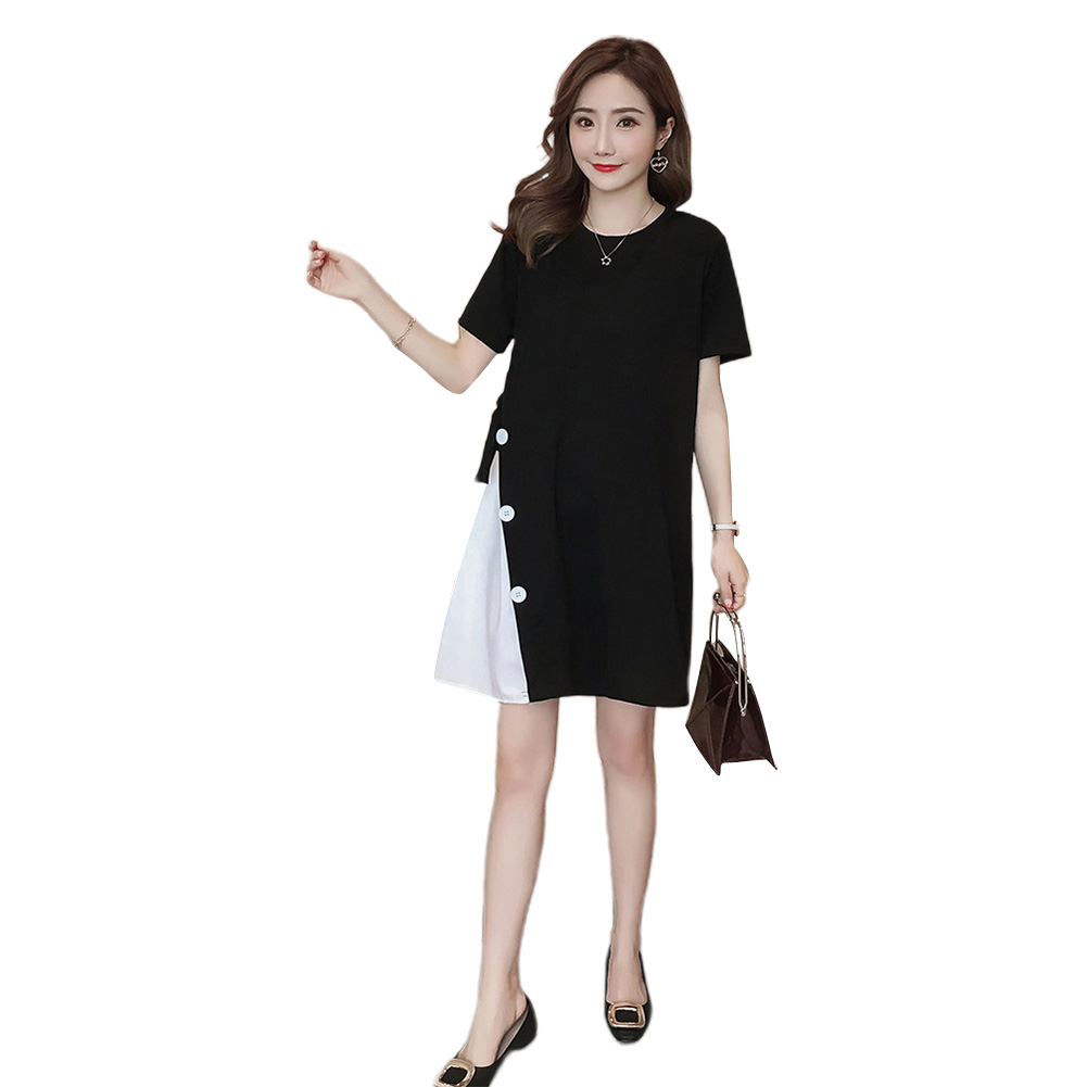 Women Maternity Stitching Round Collar Large Size Dress for Pregnant  black_XL