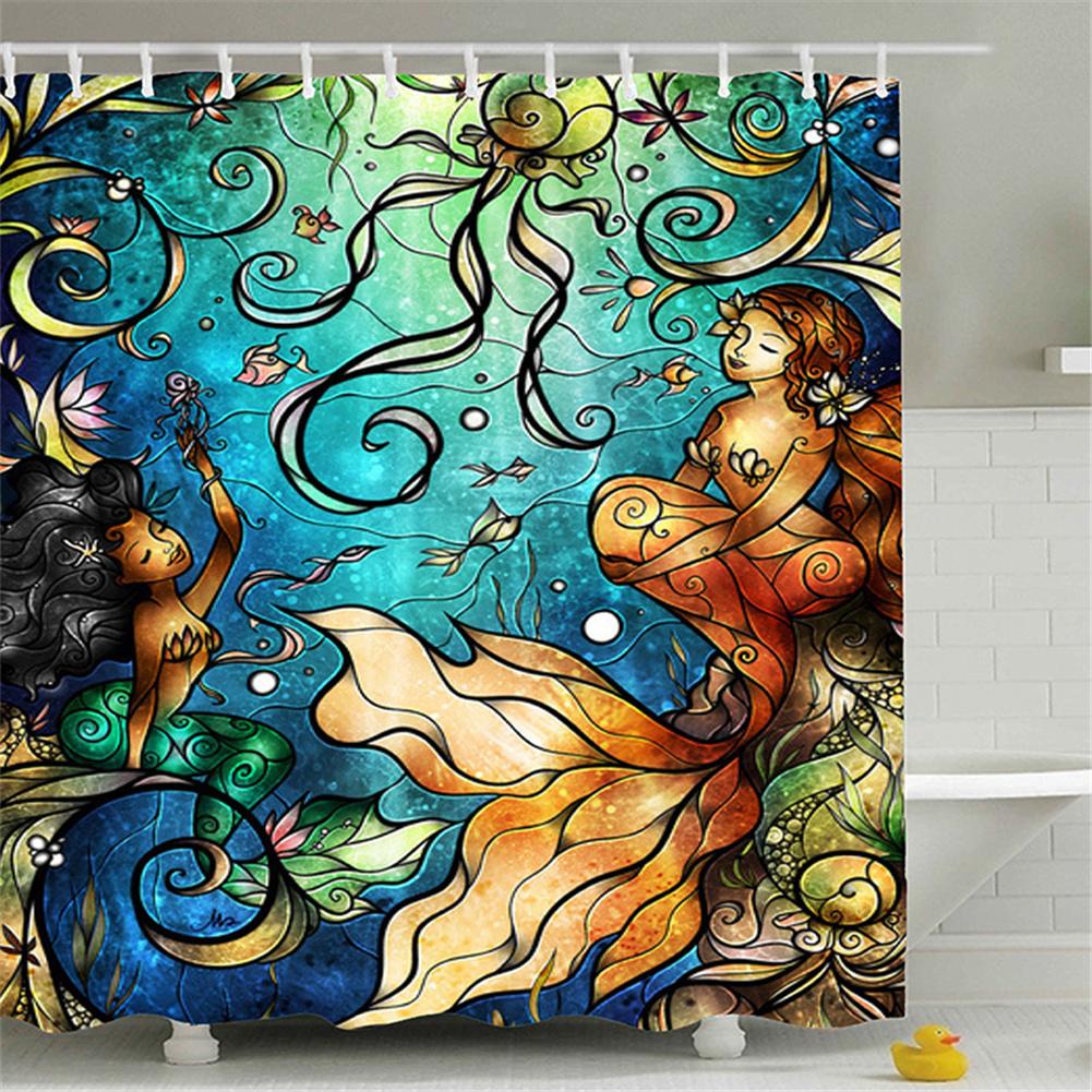 Mermaid Tail Pattern Shower  Curtains Bathroom Waterproof 3d Printing Curtain Mermaid_180*180cm