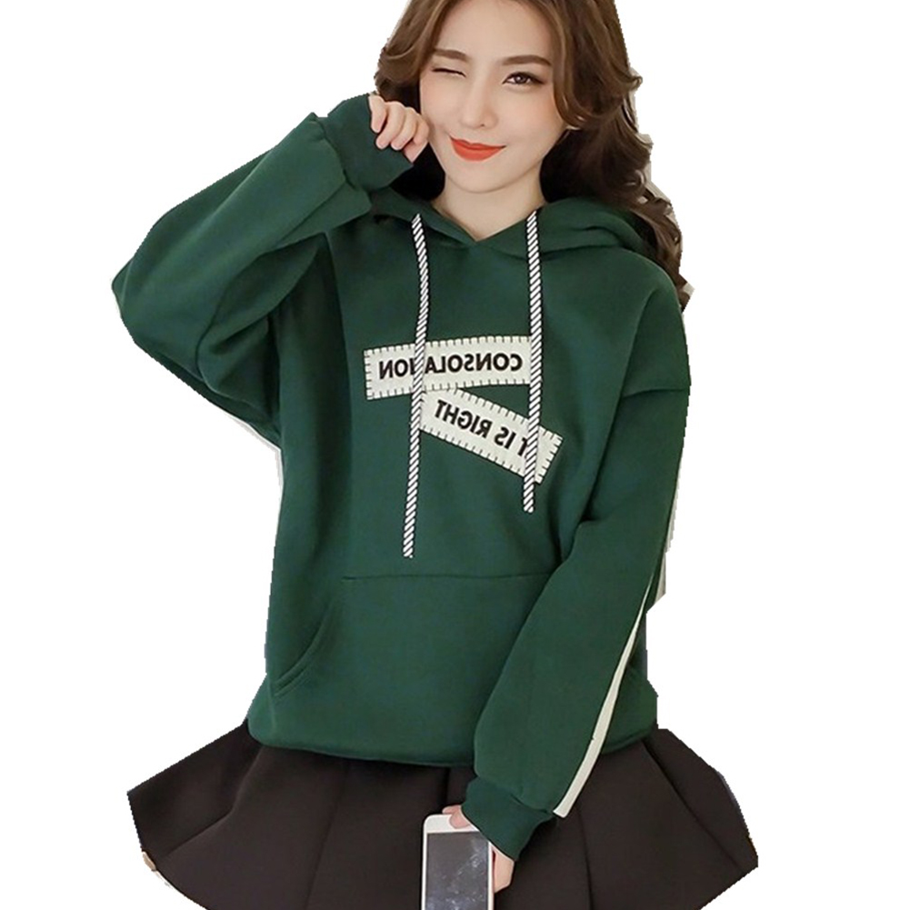 Fashion Plus Size Loose Slim Fit Letter Printed Hoodies Sweatshirt Women green_S