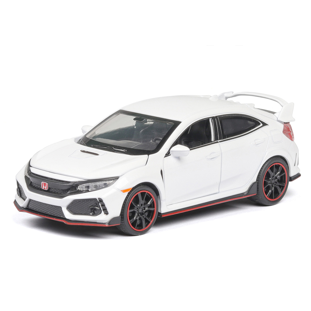 1:32 Pull Back Alloy Car Modeling Door Open Light Sound Toy for Civic TYPE Collection  white