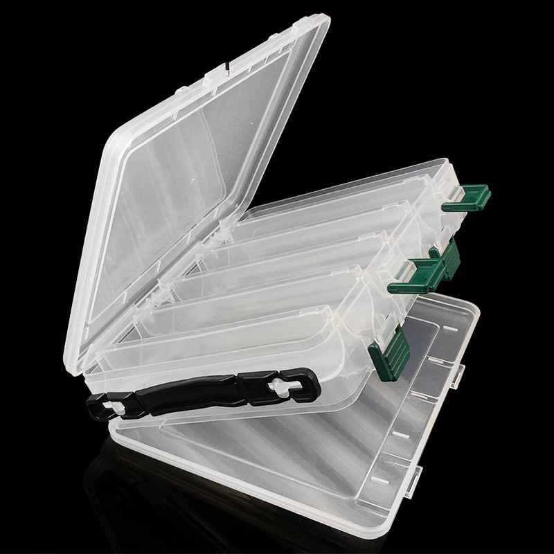 Portable Double Sided Plastic Lure Box 10 Compartments High Capacity Fishing Lures Boxes Fishing Tackle Container