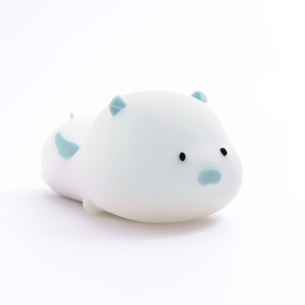 Cute Pig Silicone Night Light Colorful LED Timing Sleeping Lamp USB Charging Pat Night Light Cute pig blue