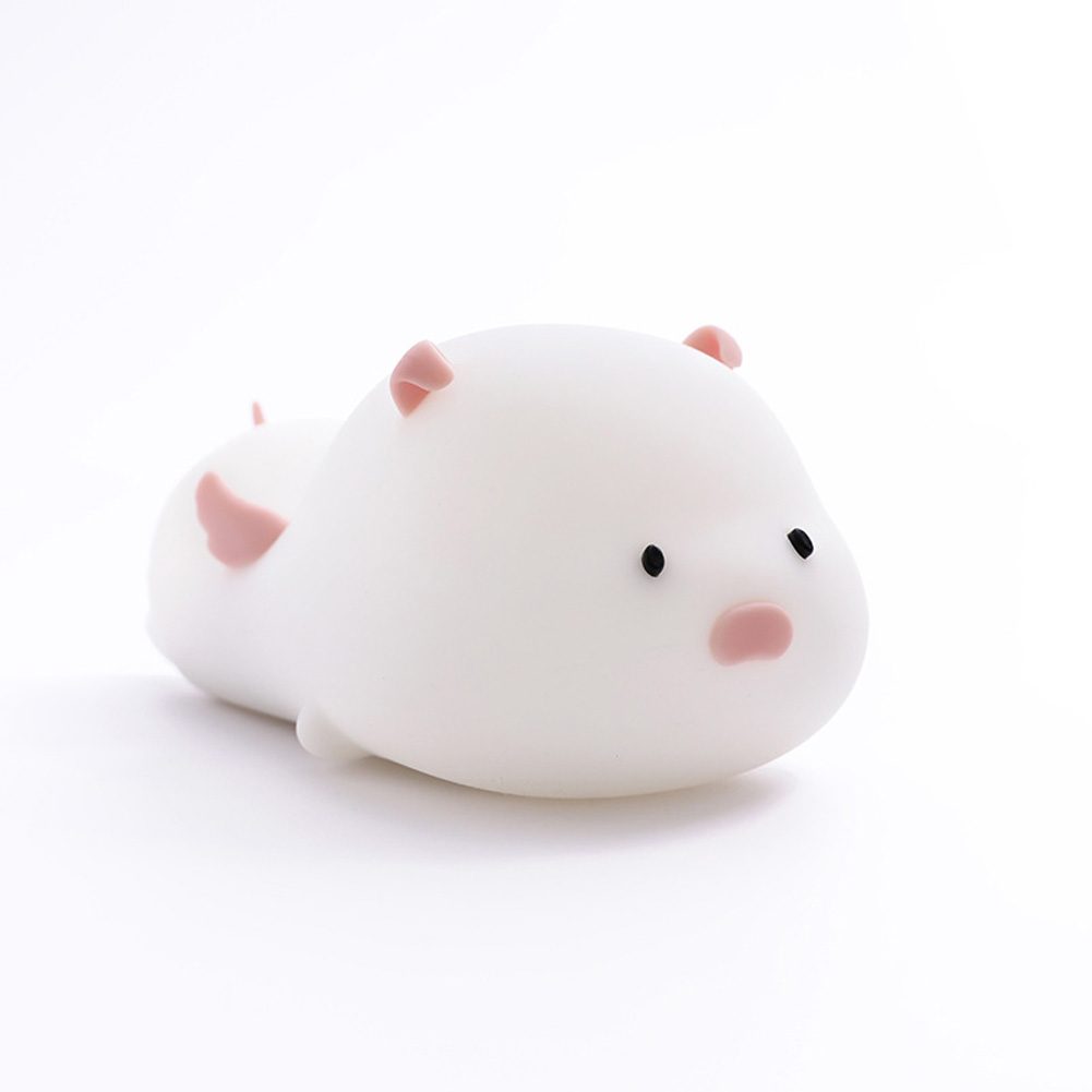 Cute Pig Silicone Night Light Colorful LED Timing Sleeping Lamp USB Charging Pat Night Light Cute pig pink