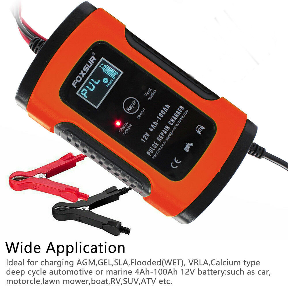 Car Battery Charger 12V 5A LCD Intelligent Automobile Motorcycle Pulse Repair As shown