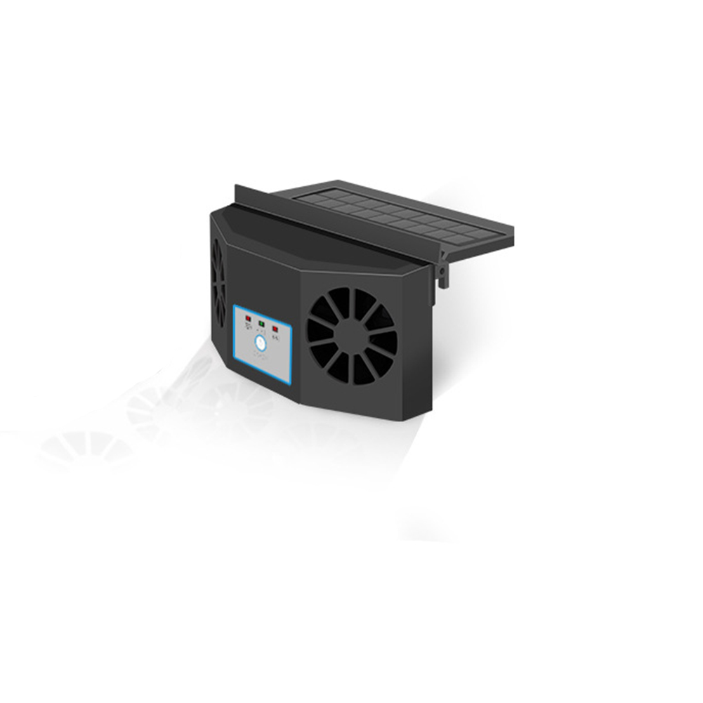 Car Exhaust Fan Solar Car Powered Interior Radiator Fan Air Circulation Car Cooler Black