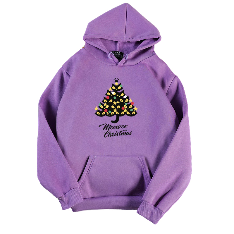 Women's Hoodies Autumn and Winter Loose Pullover Long-sleeves Padded  Hooded Sweater purple_M