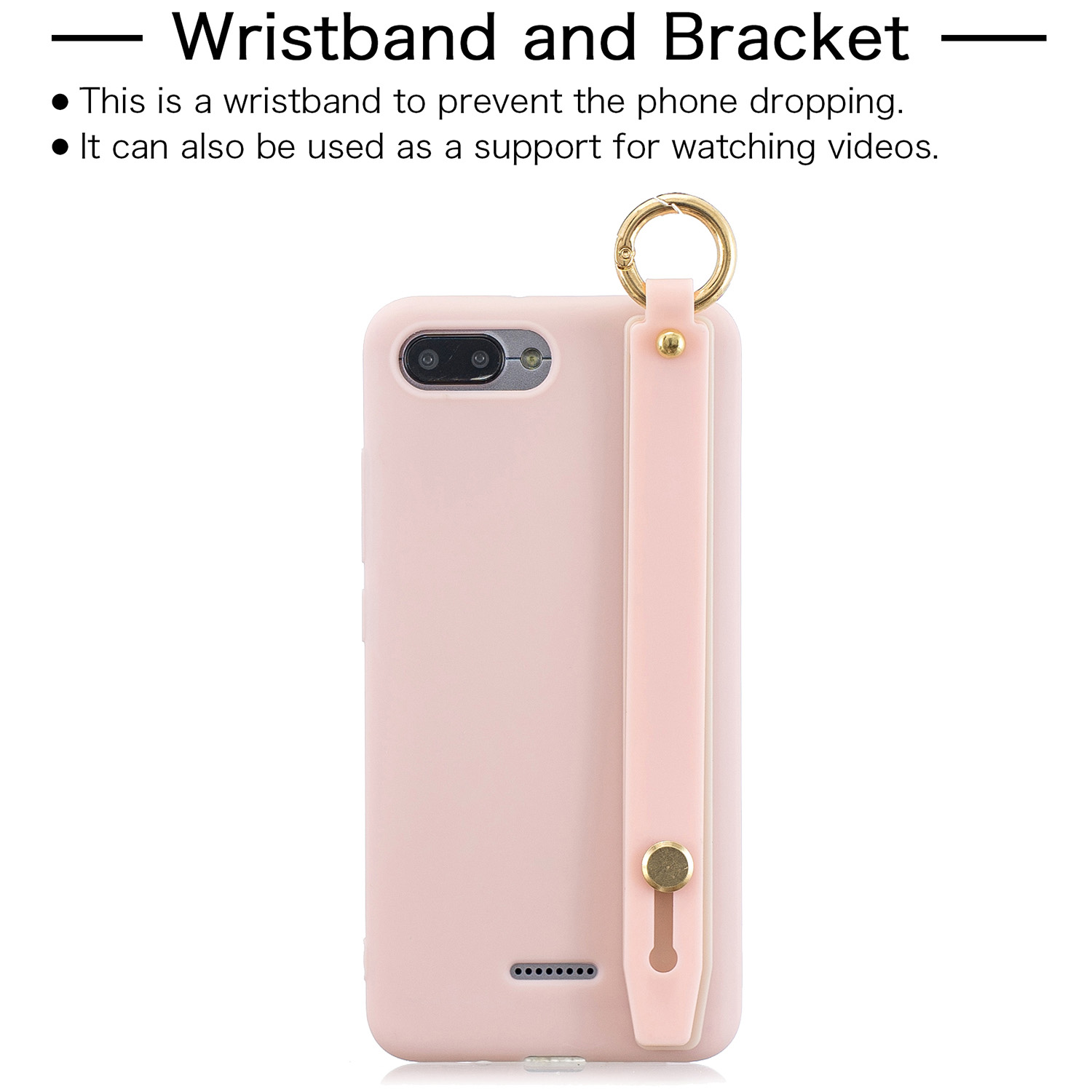 For Redmi 6A Simple Solid Color Chic Wrist Rope Bracket Matte TPU Anti-scratch Non-slip Protective Cover Back Case 6 light pink