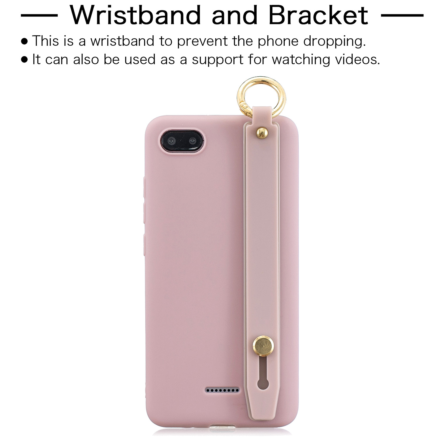 For Redmi 6A Simple Solid Color Chic Wrist Rope Bracket Matte TPU Anti-scratch Non-slip Protective Cover Back Case 11 Lotus pink