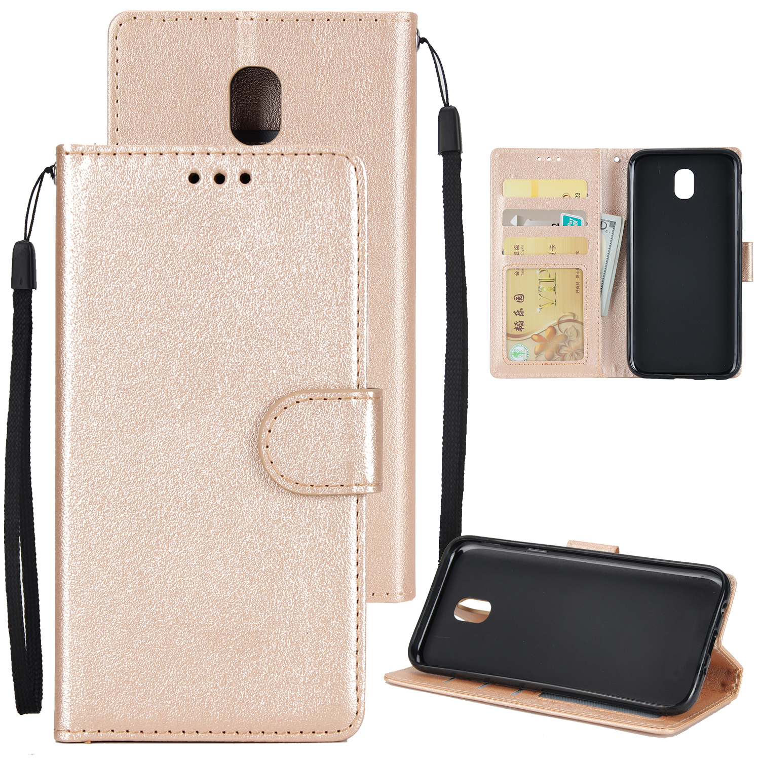For Samsung J7 2017 European Edition/J730/J7 PRO PU Leather Protective Phone Case with 3 Card Position Golden