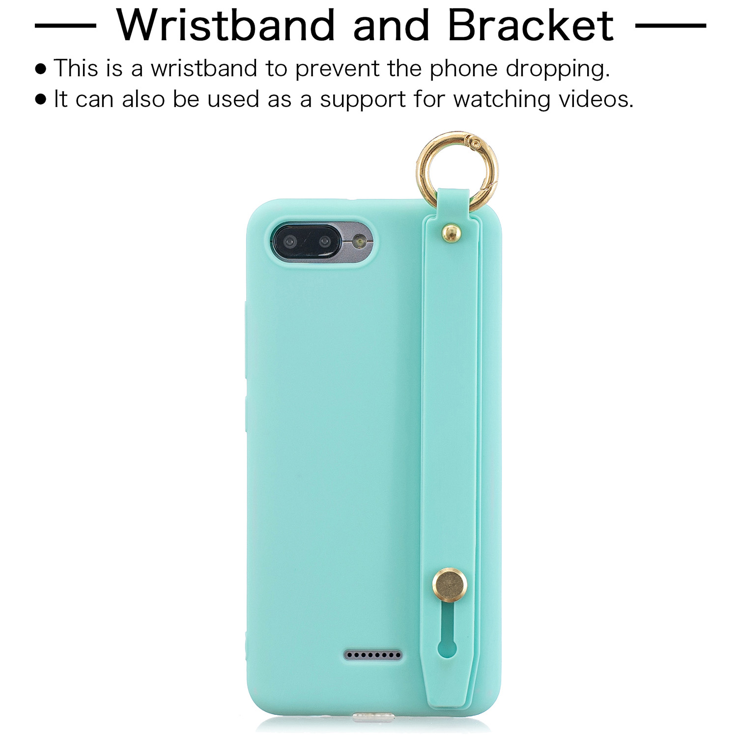 For Redmi 6A Simple Solid Color Chic Wrist Rope Bracket Matte TPU Anti-scratch Non-slip Protective Cover Back Case 8 light blue