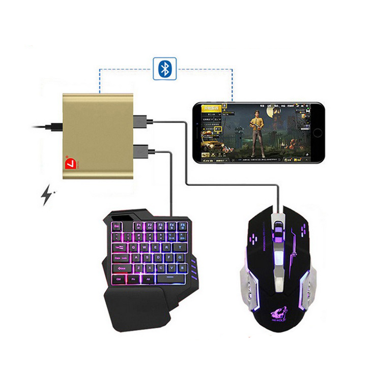 PUBG Mobile Phone Game Controller Mouse Keyboard Battledock Converter  D6 (without mouse and keyboard)